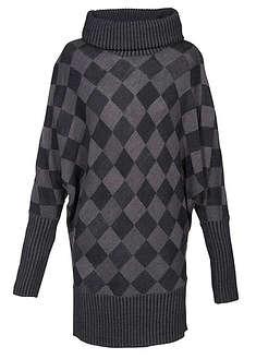 Długi sweter antracytowy melanż Z dużym