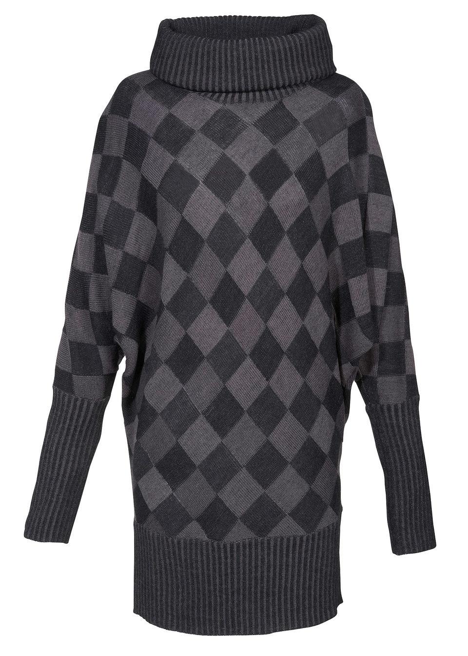 Długi sweter bonprix antracytowy melanż