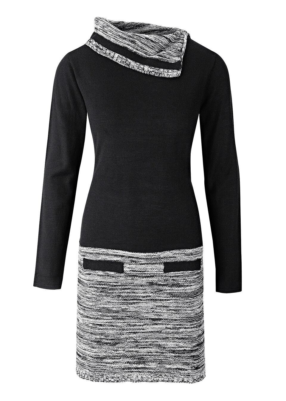 Rochie tricotată cu mâneci lungi bonprix