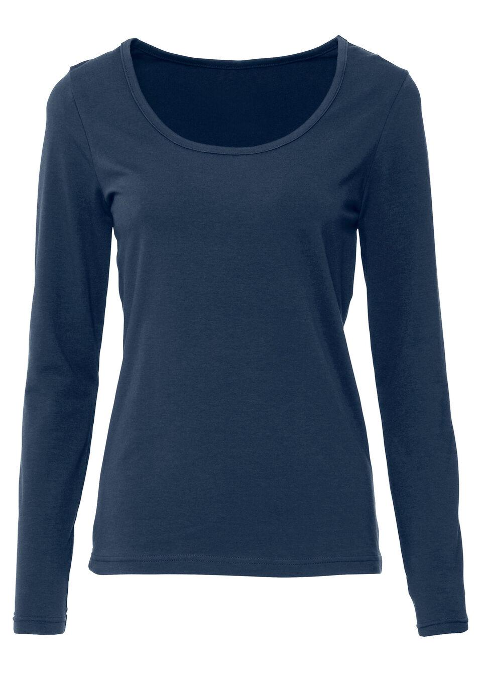 Shirt ze stretchem, długi rękaw bonprix ciemnoniebieski bonprix