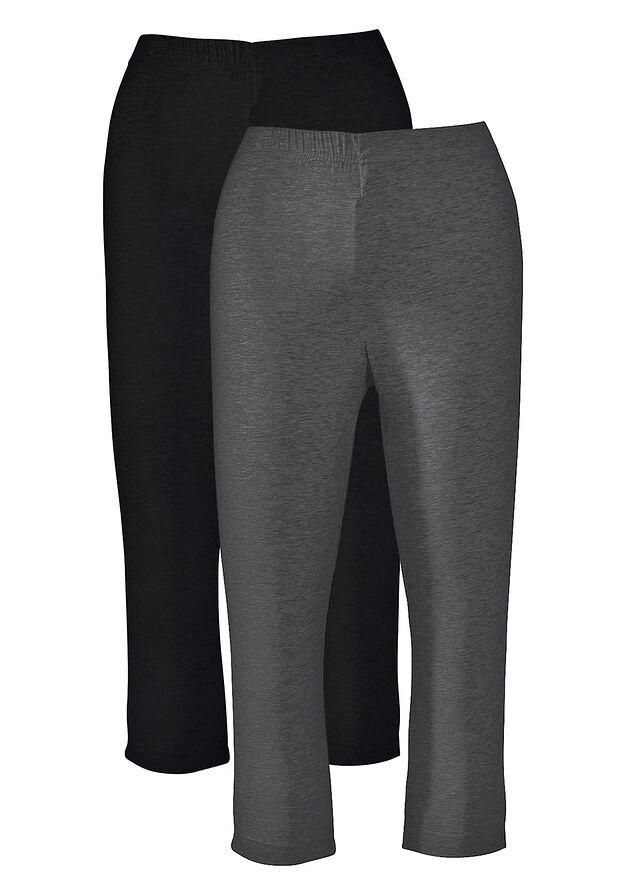 018fc35d60 Sztreccs capri-legging (2 db-os csomag) antracitszürke melírozott/fekete •  3998.0 Ft • bonprix