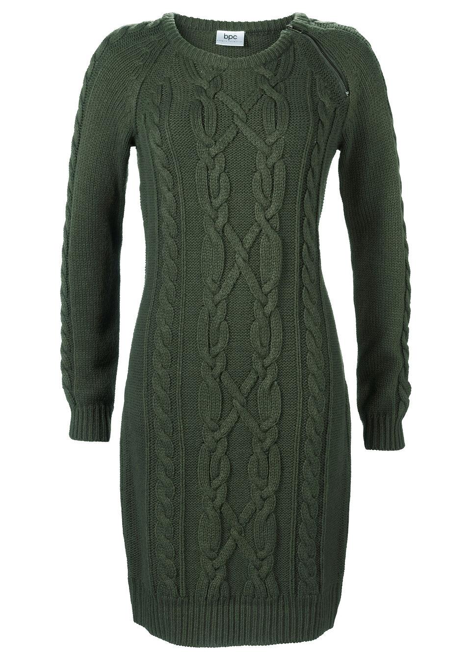 Sukienka dzianinowa z zamkiem bonprix ciemnooliwkowy