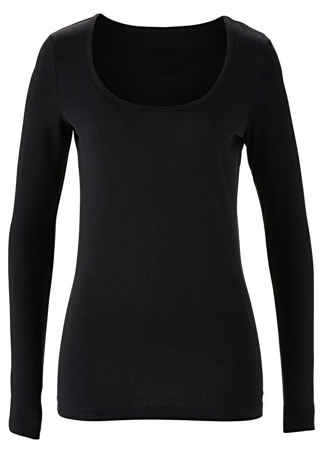 Hosszú ujjú sztreccs póló fekete Kerek • 2799.0 Ft • bonprix 9a8158debe