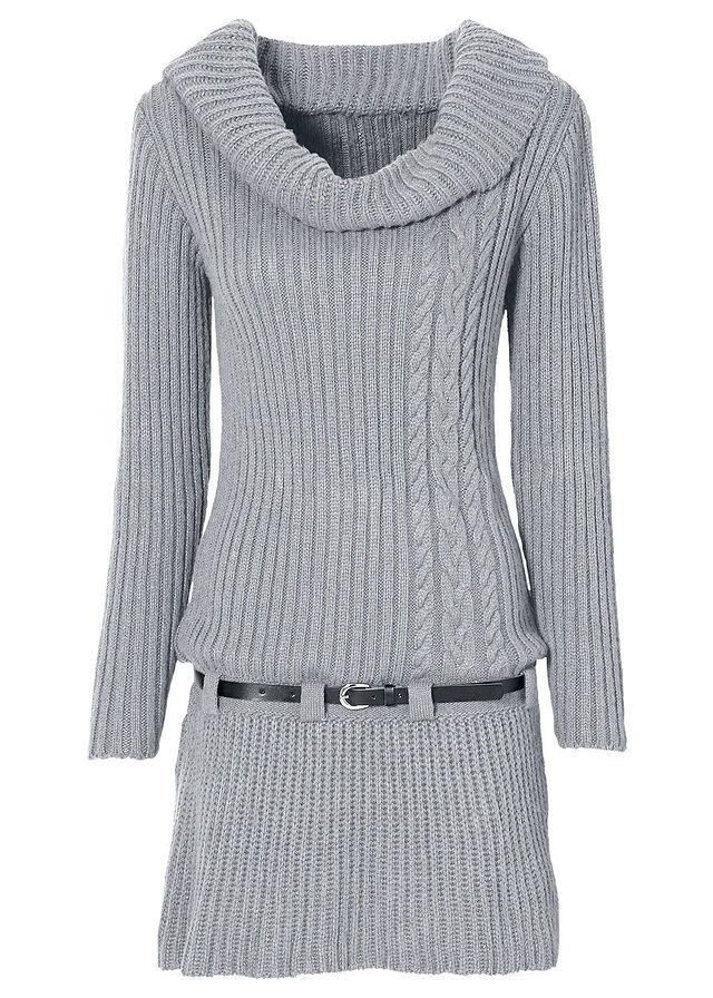 5fda822ee8d Pletené šaty s opaskom sivá melírovaná S • 24.99 € • bonprix