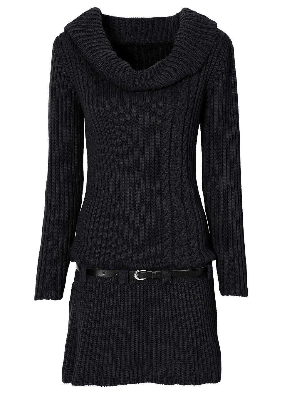 Sukienka dzianinowa z paskiem bonprix czarny