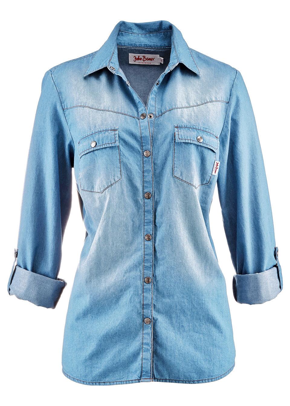 Джинсовая блузка с застежкой на кнопки и длинным рукавом от bonprix