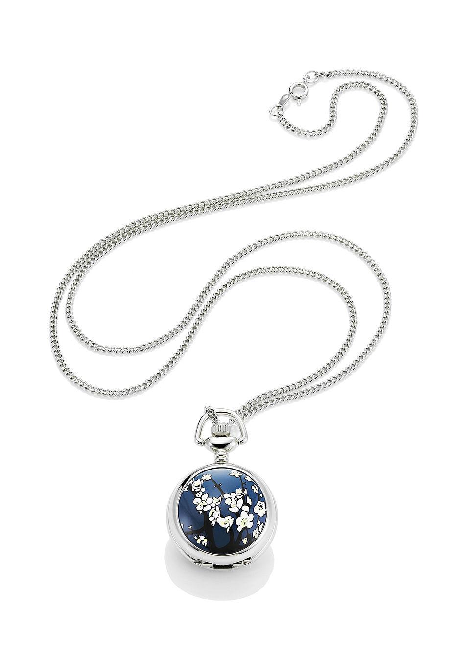 Zegarek na ?a?cuszku bonprix srebrno-niebieski w kwiaty
