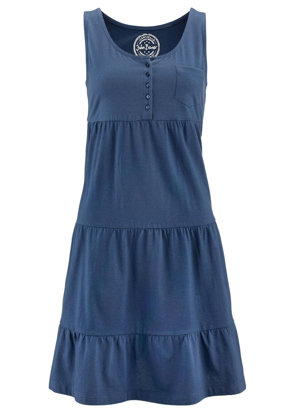Sukienka bawełniana z dżerseju, krótki rękaw bonprix niebieski indygo