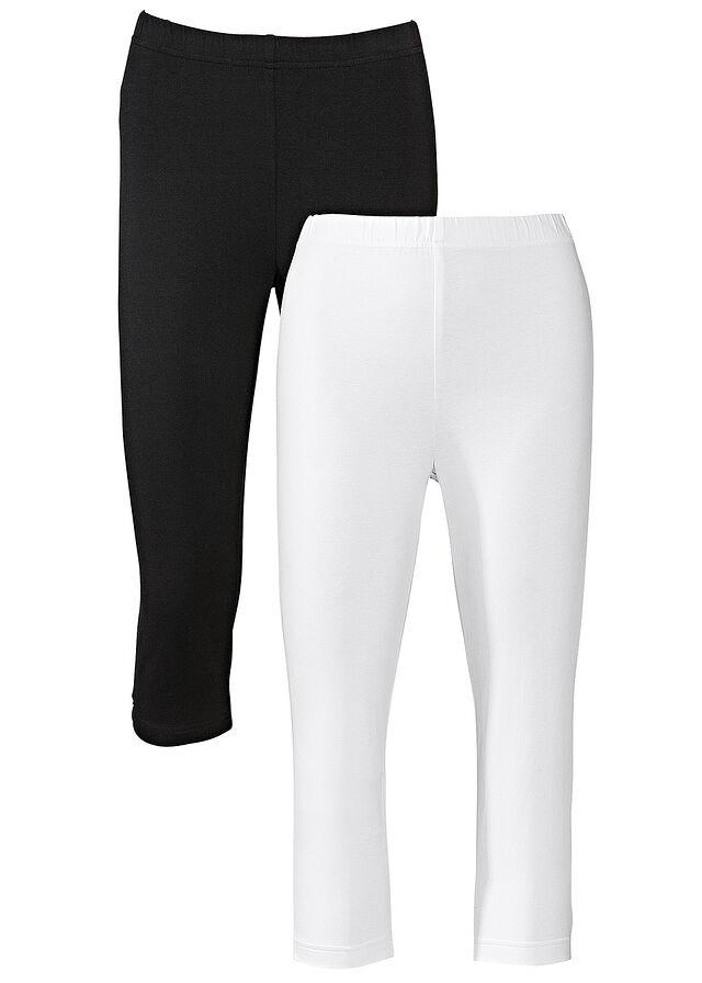 Sztreccs capri-legging (2 db-os csomag) fehér   fekete • 3998.0 Ft • bonprix 0660de7908