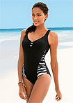 Costum de baie negru/alb zebrat bpc bonprix collection 2