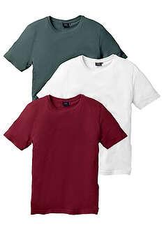 T-shirt (3 szt.) bordowy + ciemnozielony + biały