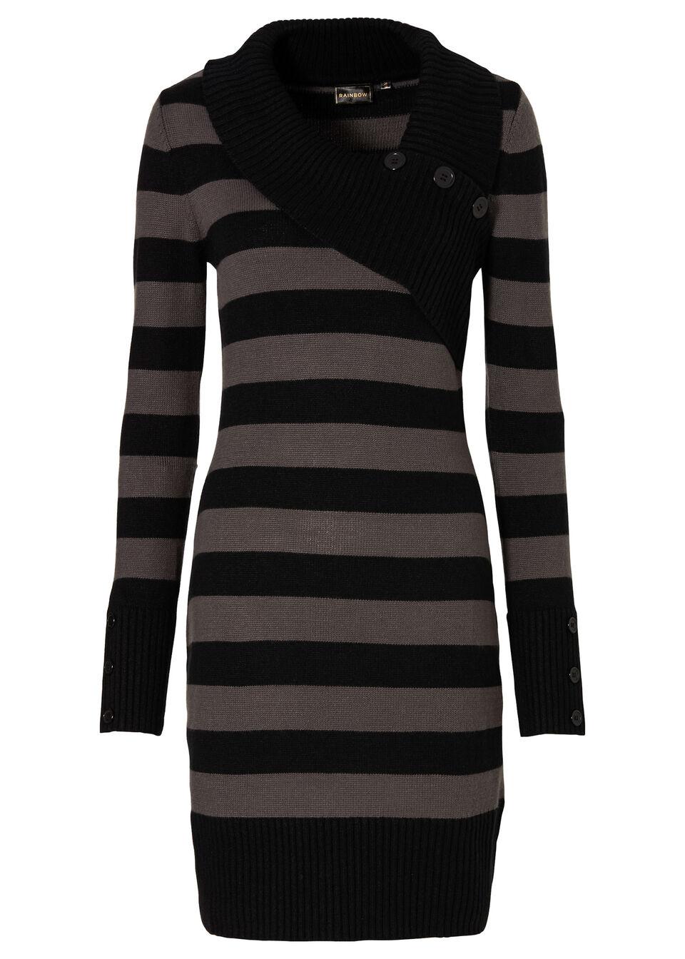 Sukienka dzianinowa bonprix czarno-szary melanż