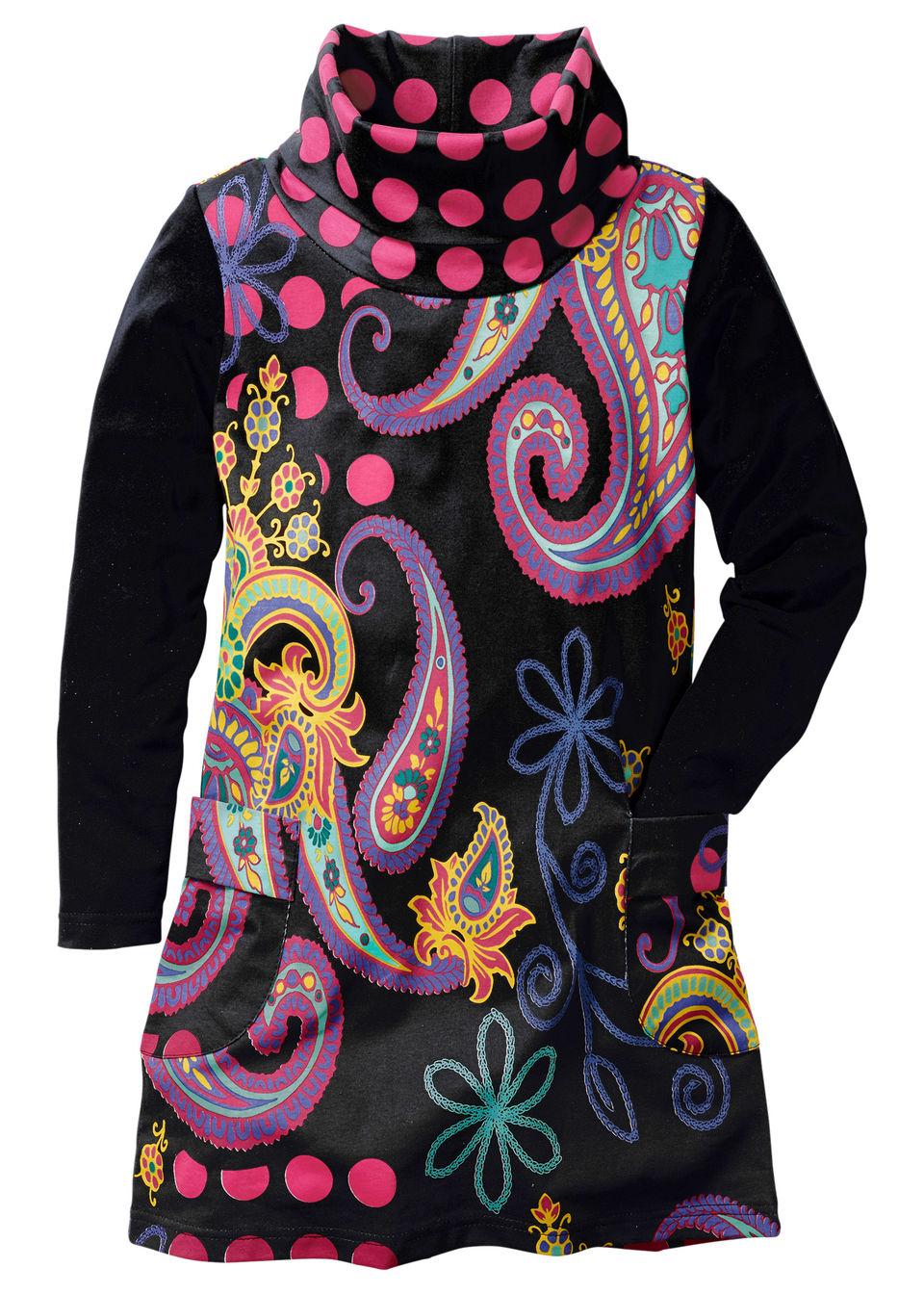 Платье с длинным рукавом и принтом