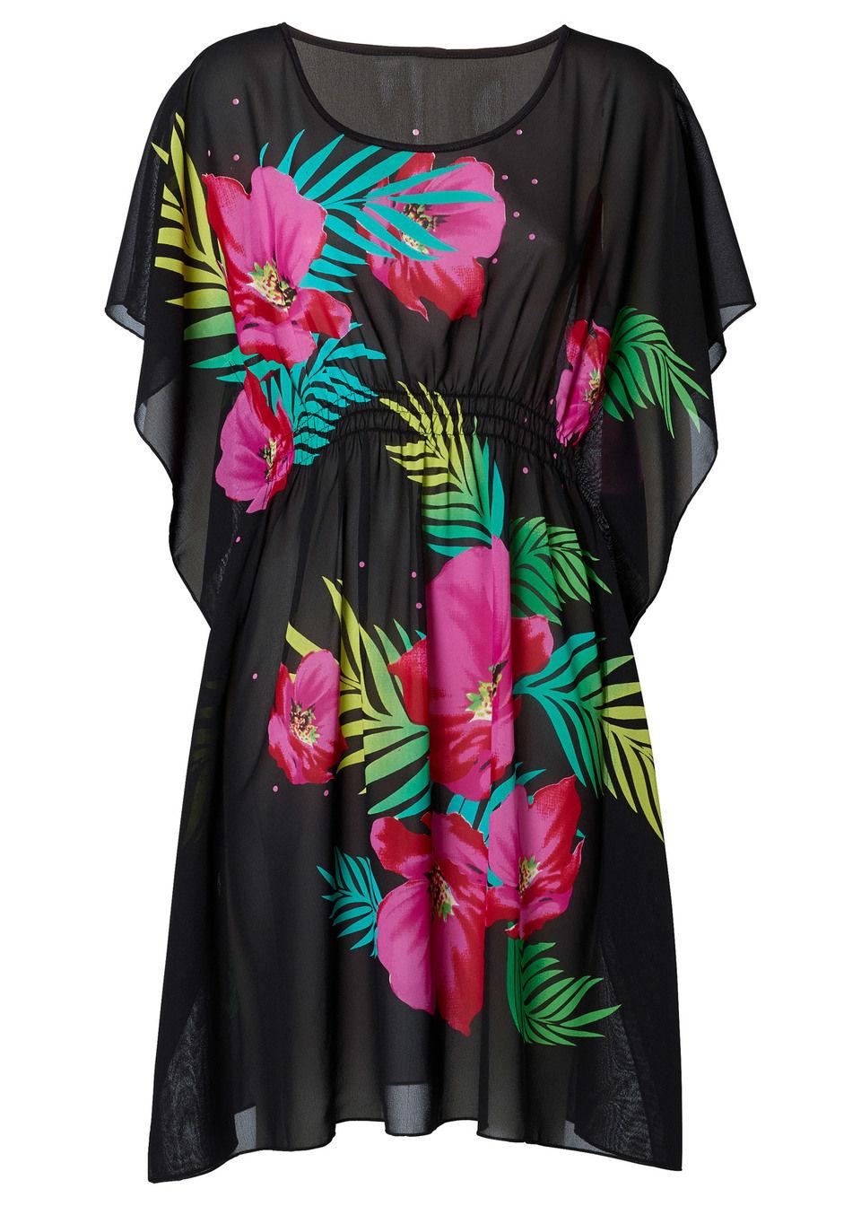 Sukienka plażowa bonprix czarno-różowy z nadrukiem