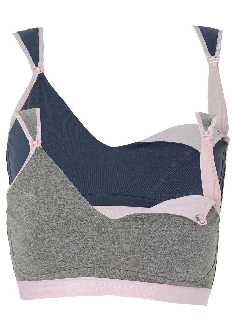 Фото - Бюстгальтер для кормления от bonprix цвет серый меланж/розовый + синий/розовый