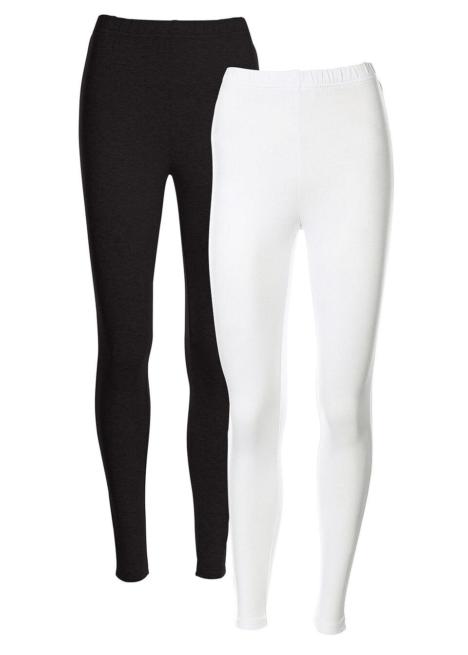 Legginsy ze stretchem (2 pary w opak.) bonprix biały + czarny