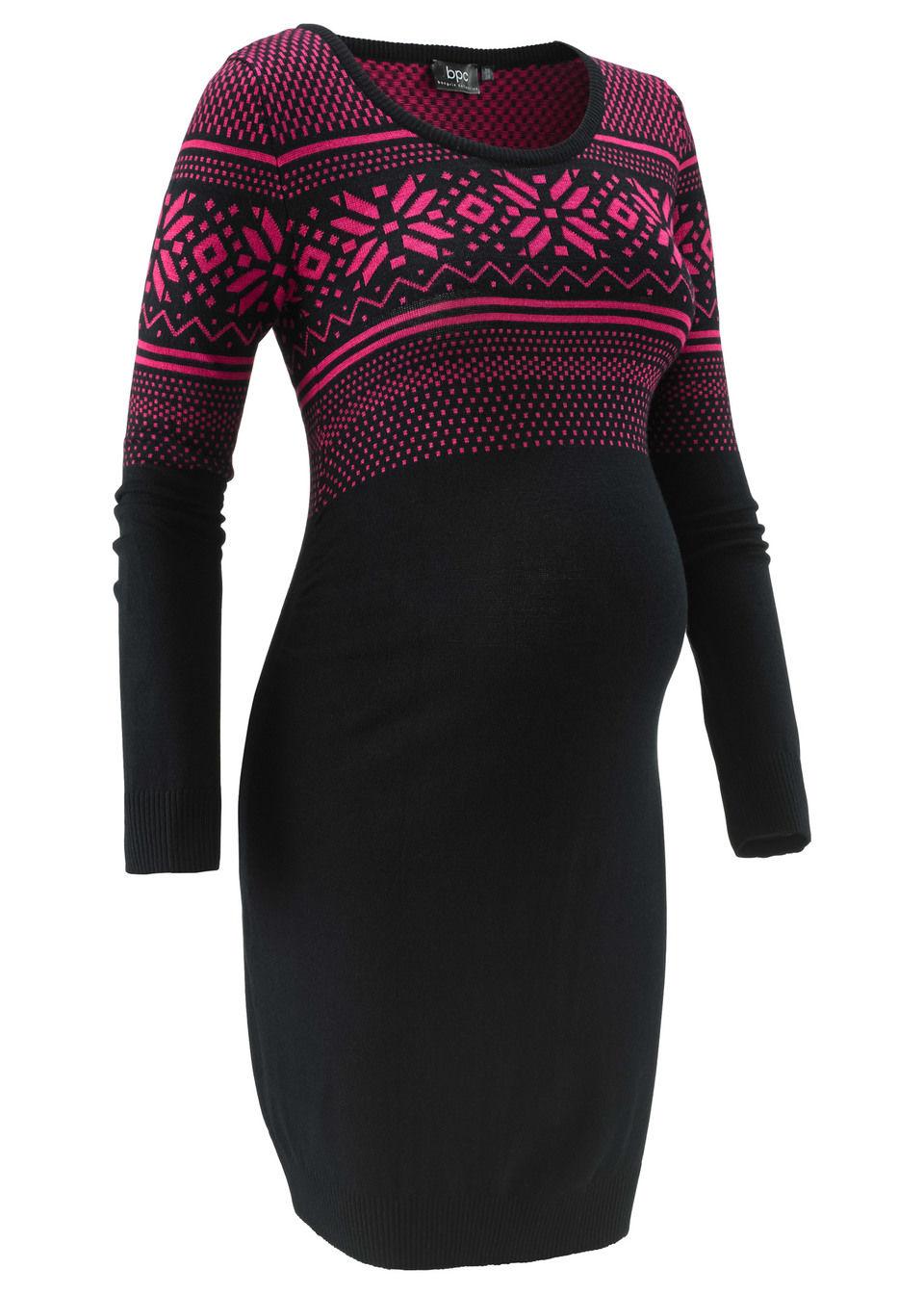 Sukienka dzianinowa z norweskim wzorem bonprix czarno-ciemnoróżowy wzorzysty