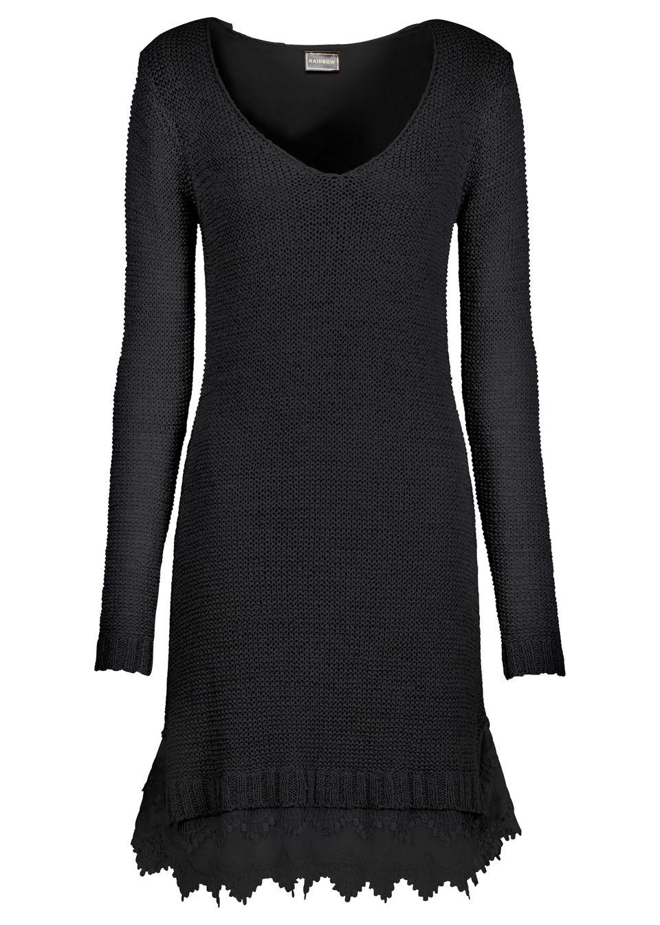 Купить Платье с кружевными воланами, bonprix, черный