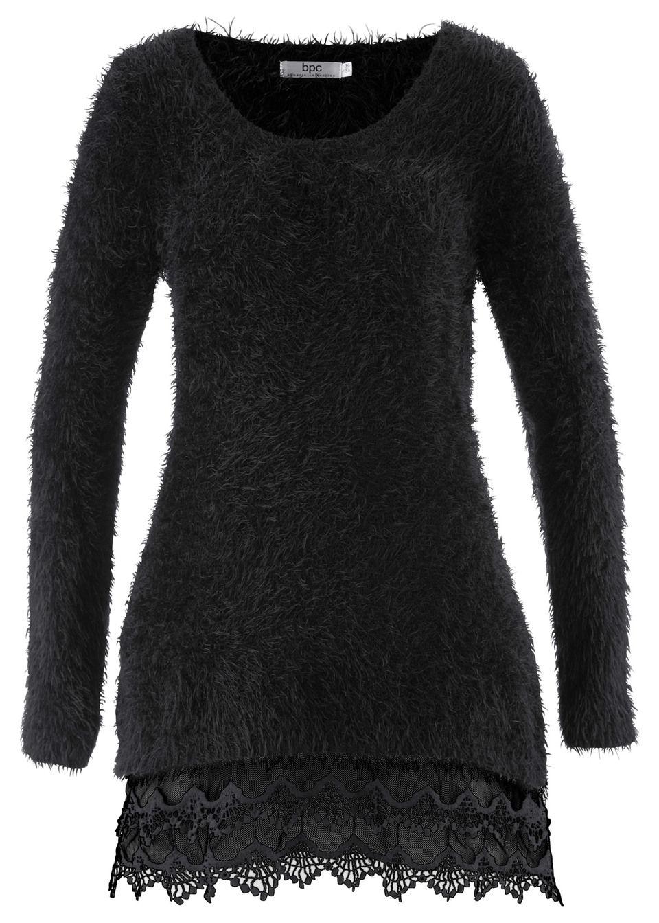 Купить Удлиненный пуловер с кружевом и длинным рукавом, bonprix, черный