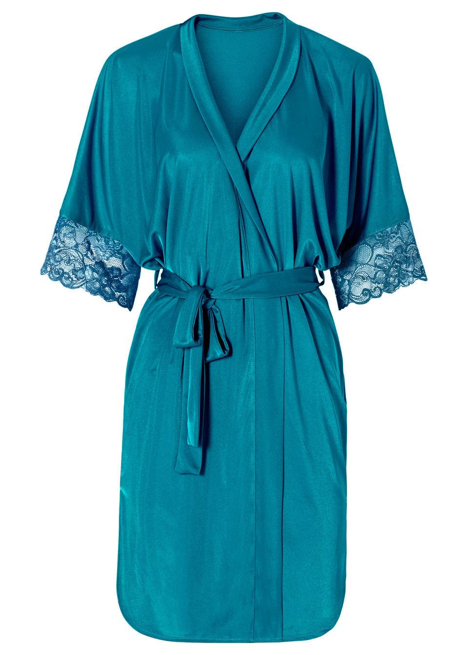 Szlafrok kimono bonprix niebieskozielony