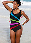 Costum de baie modelator, nivel 3 negru dungat bpc bonprix collection 11