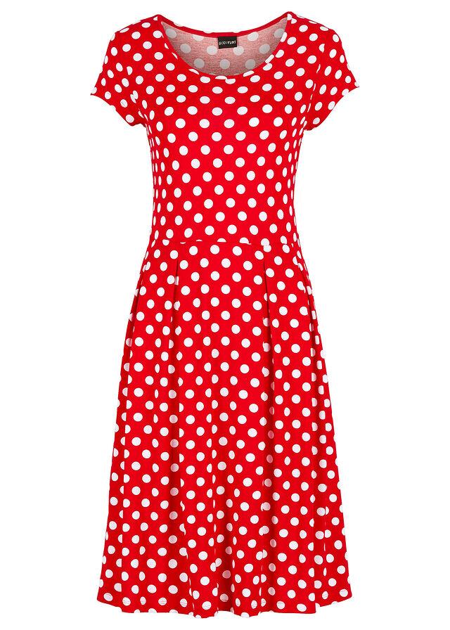 ee8975b2841a Letné šaty z džerseju jahodová biela bodkovaná • 16.99 € • bonprix