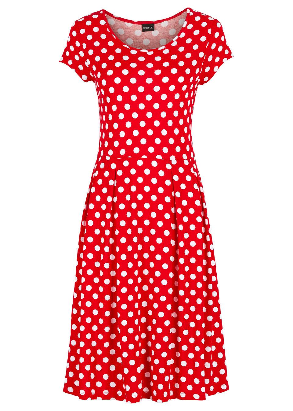 Sukienka z dżerseju bonprix truskawkowo-biały w kropki
