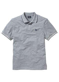 Shirt polo z bawełny pique jasnoszary melanż