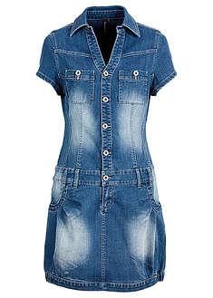 Sukienka dżinsowa z plisą guzikową i kieszeniami na wys. biustu niebieski