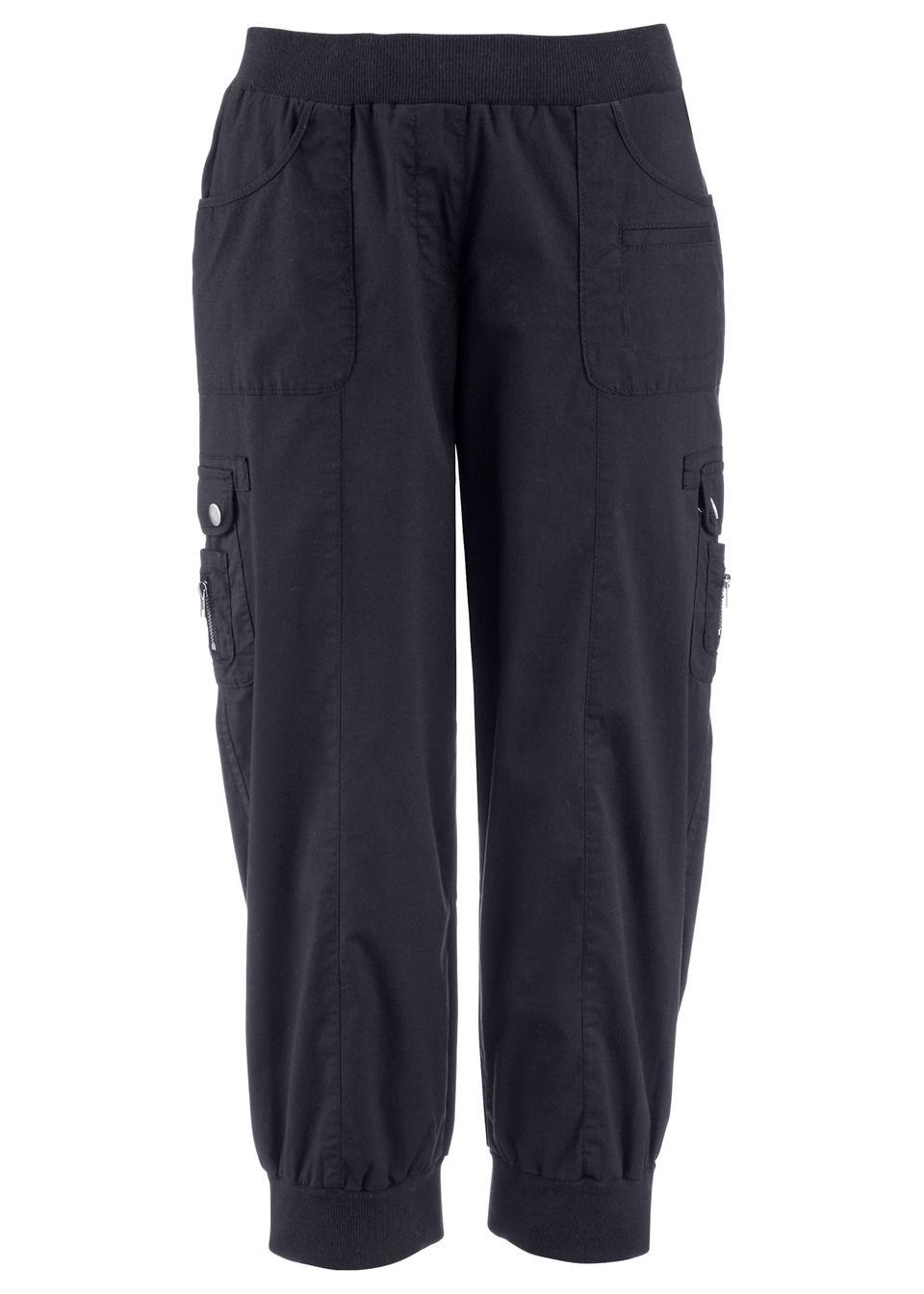 Купить Эластичные брюки-карго 3/4, bonprix, черный