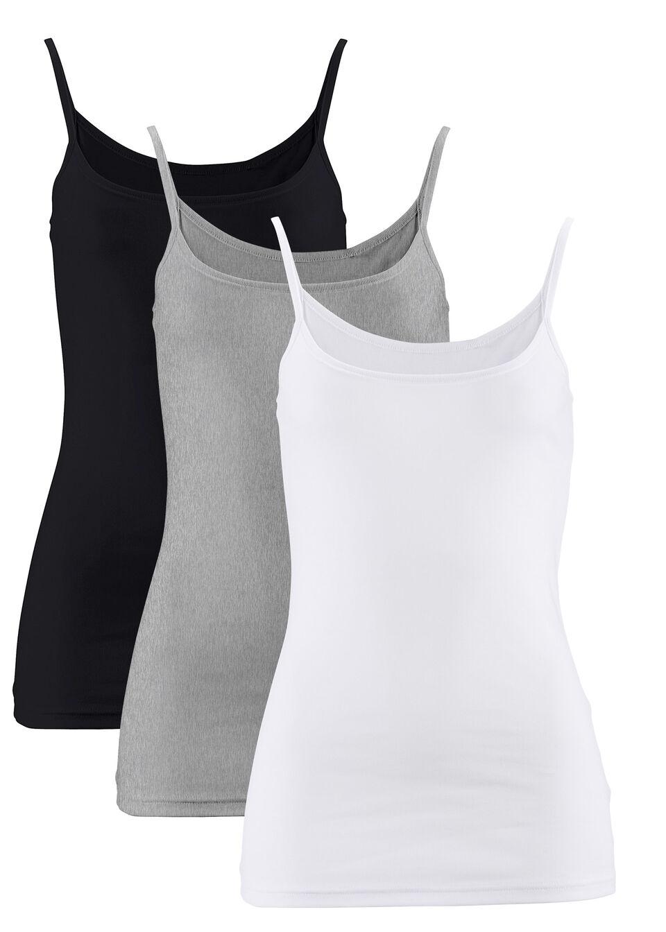 Фото - Топ на узких бретельках (3 шт.) от bonprix белый + черный + светло-цвета серый меланж
