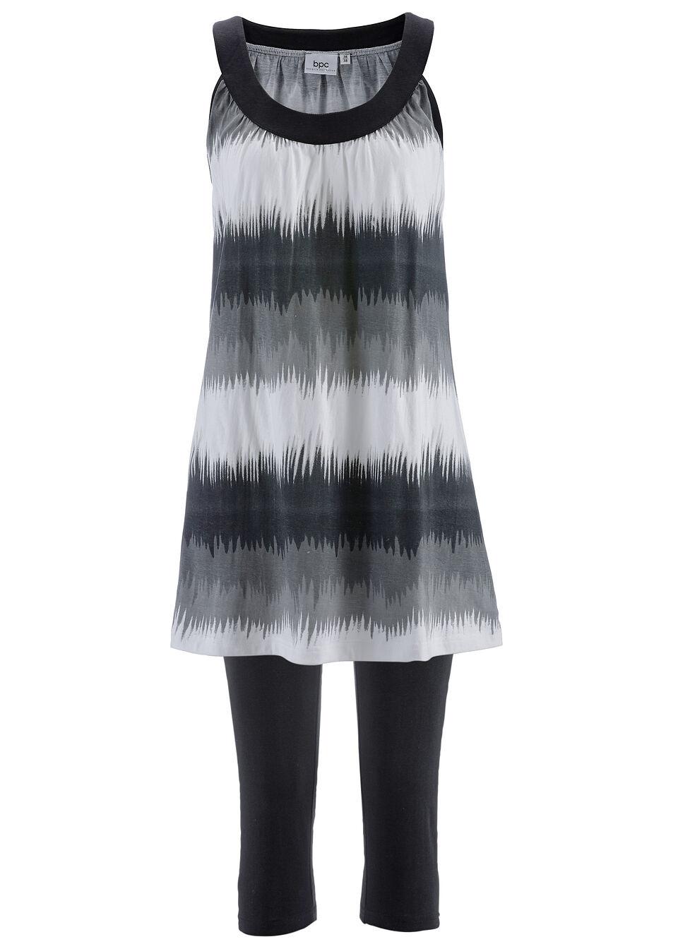 Sukienka + legginsy rybaczki (2 części) bonprix czarny w graficzny wzór