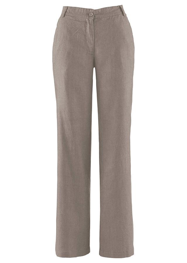 4e8c637d0cb Широкие льняные брюки серо-коричневый • 599.0 грн • bonprix