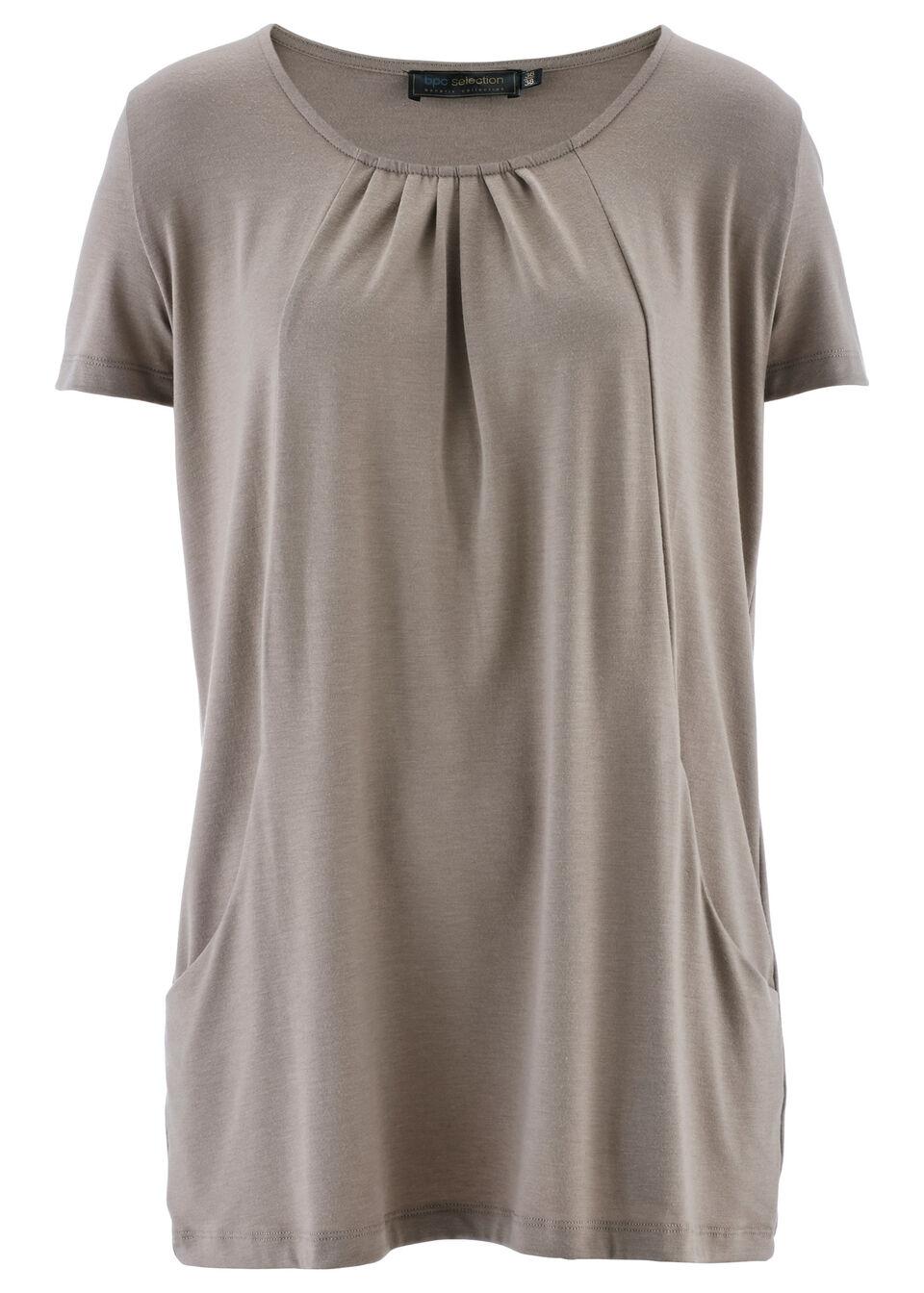 Купить Блузки, Удлиненная футболка, bonprix, серо-коричневый