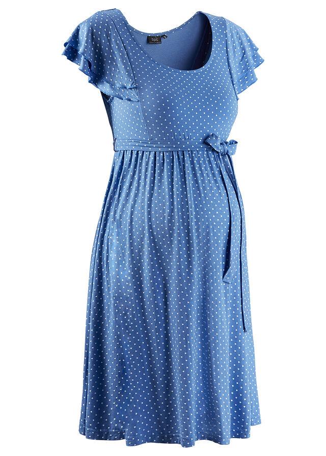 Tehotenské úpletové šaty nebeská modrá bodkovaná • 24.99 € • bonprix 8f72349392f