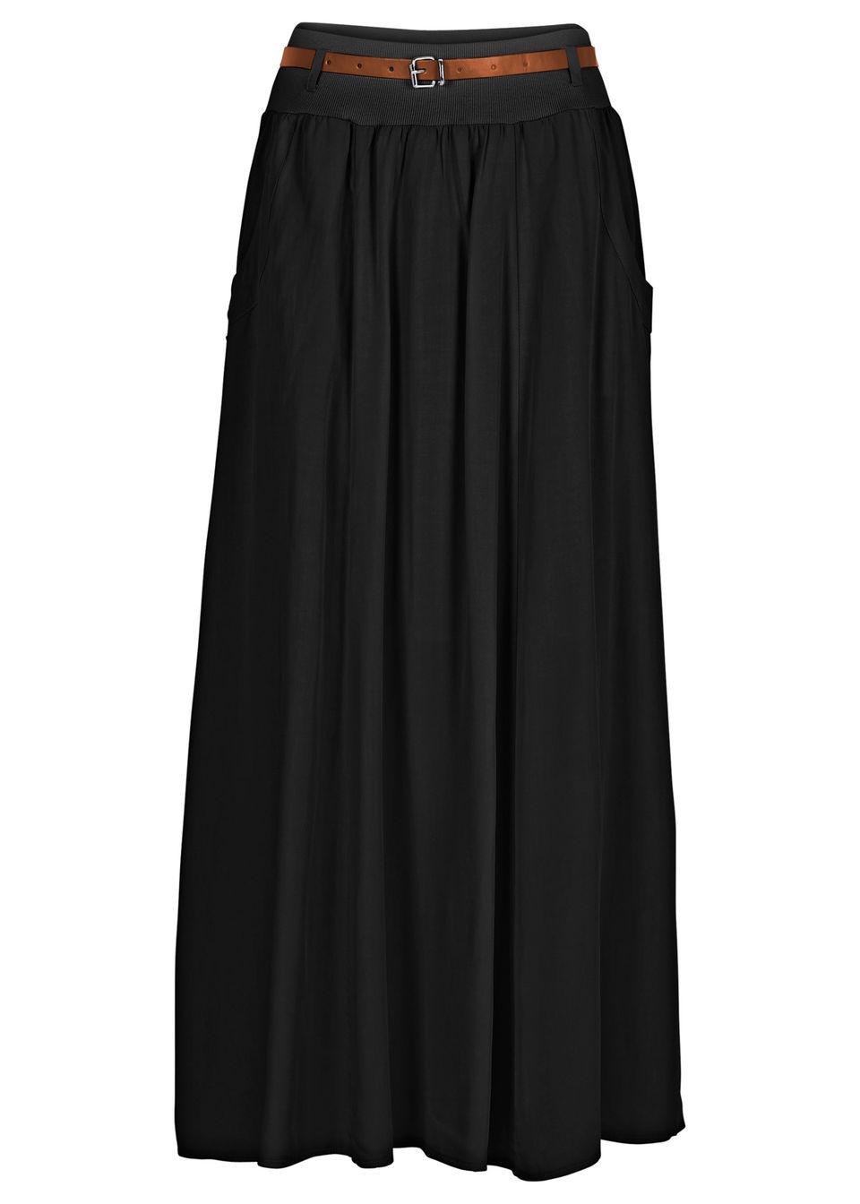 Spódnica maxi z paskiem bonprix czarny