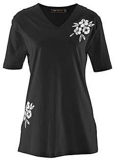 Długi shirt czarny z nadrukiem