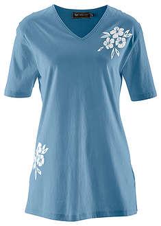 Długi shirt niebieski dżins z nadrukiem