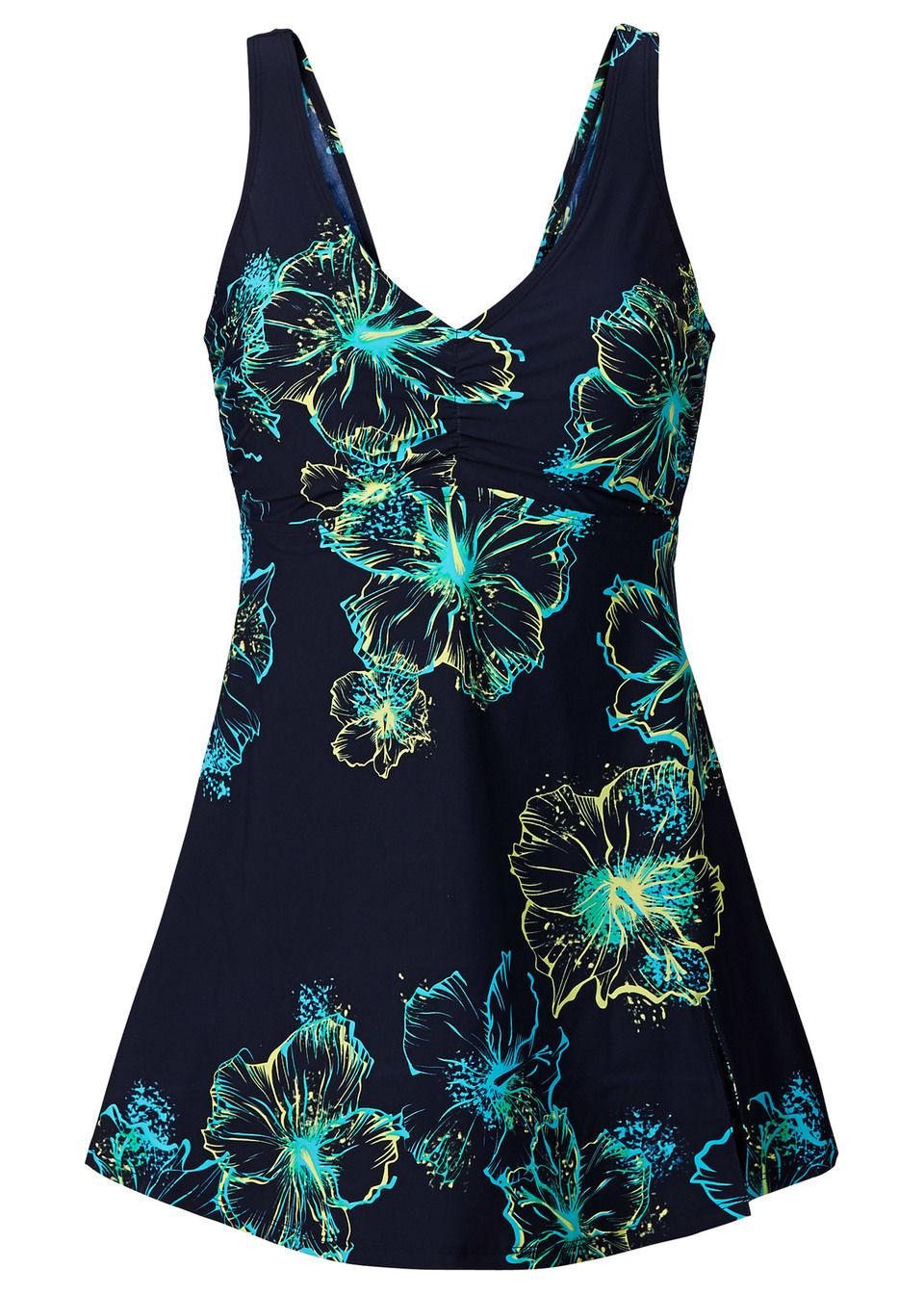 Купить Формирующее купальное платье, bonprix, темно-синий/бирюзовый