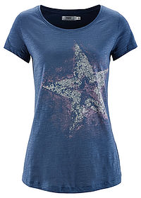 Tricou din fire flamm indigo imprimat bpc bonprix collection 0