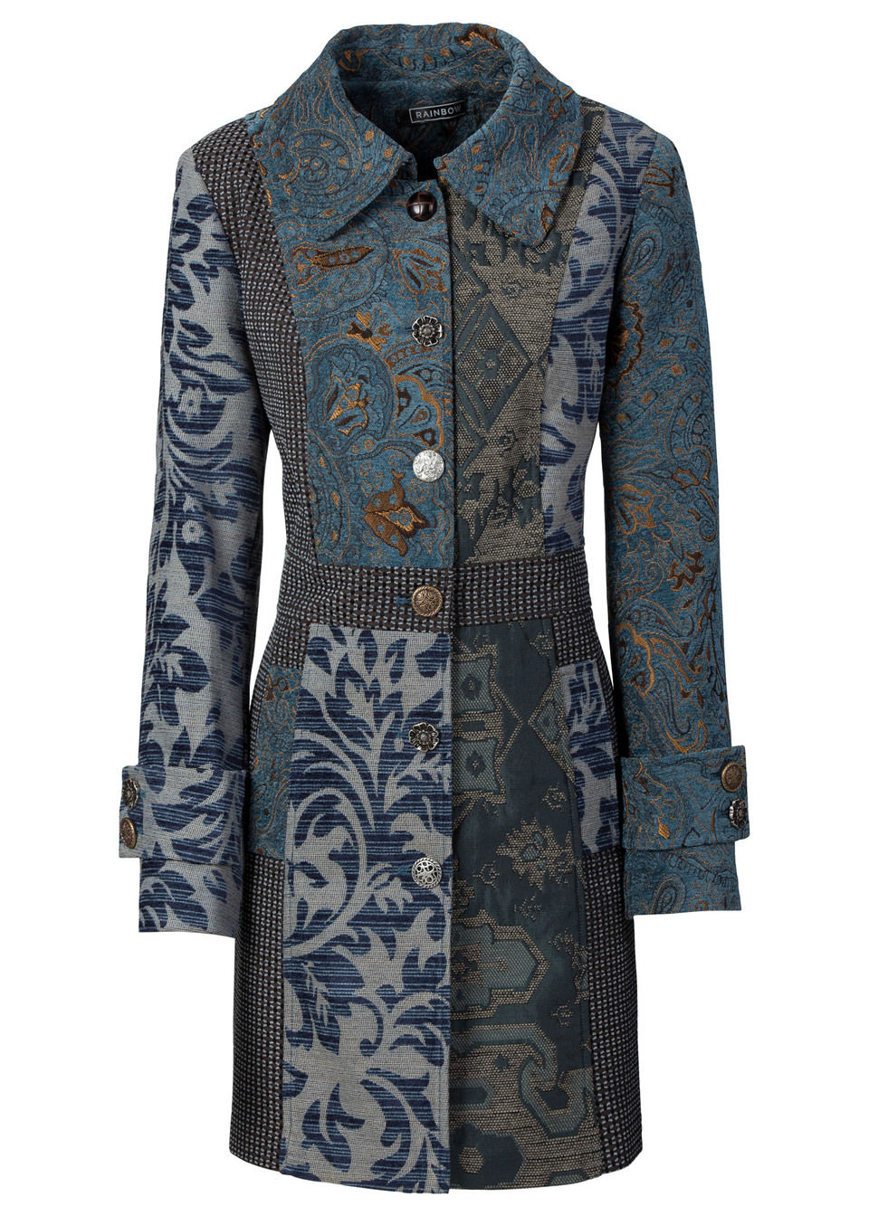 Kabát so žakárovým dizajnom čierna viacfarebná • 32.99 € • bonprix 7cbbbc7b976