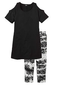Pijama capri negru imprimat bpc bonprix collection 0