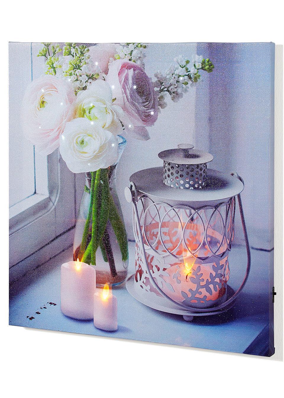 Картина «Свечи и сказочные цветы»