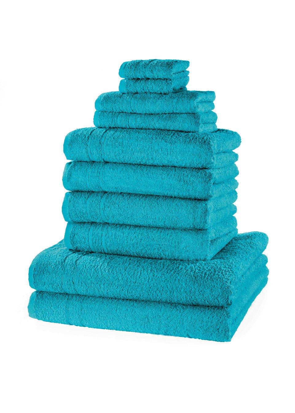 Купить Полотенца «Однотонная новинка» (10 шт.), bonprix, сине-зеленый