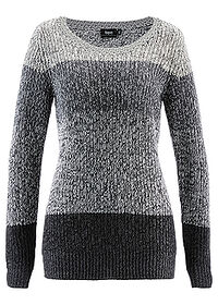 Sweter antracytowy melanż w paski bpc bonprix collection 0