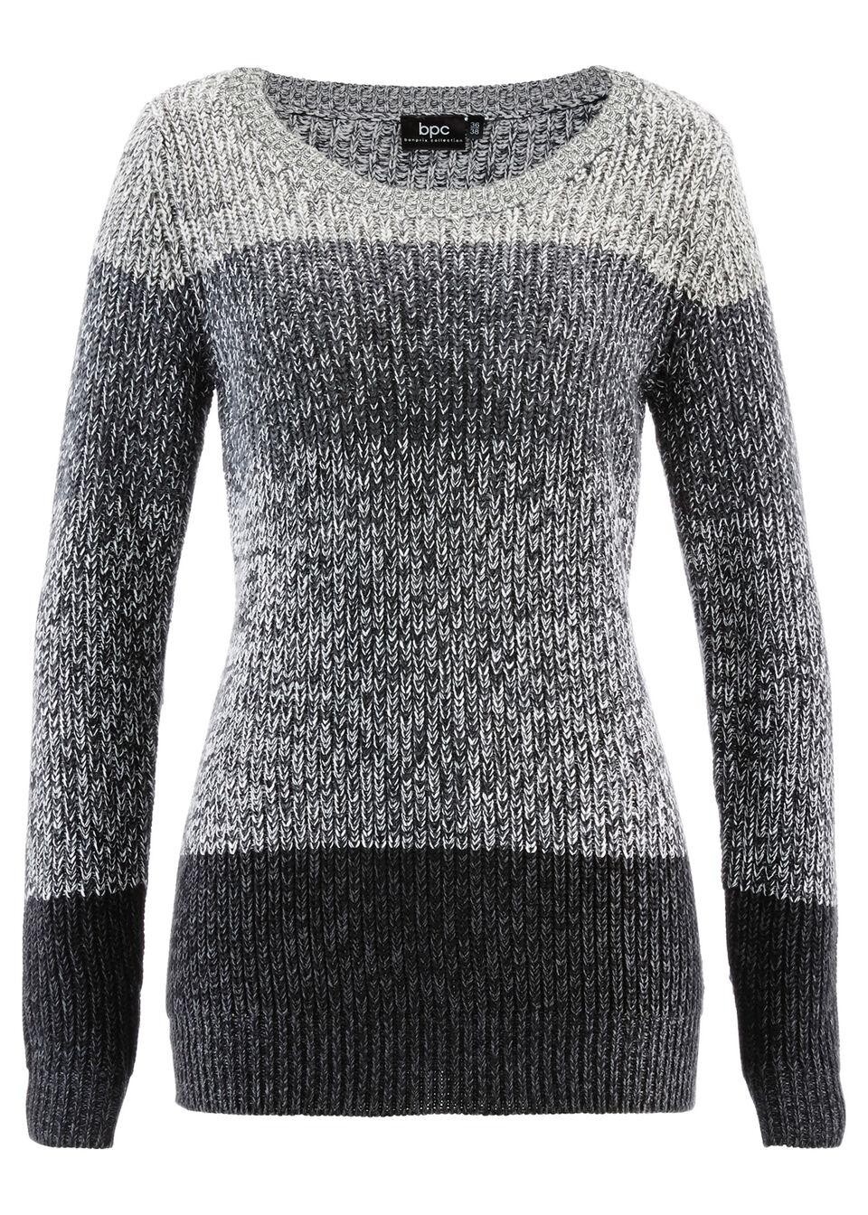 Sweter w szerokie pasy bonprix antracytowy melanż w paski