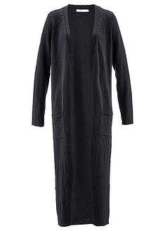 Długi płaszcz dzianinowy, długi rękaw czarny