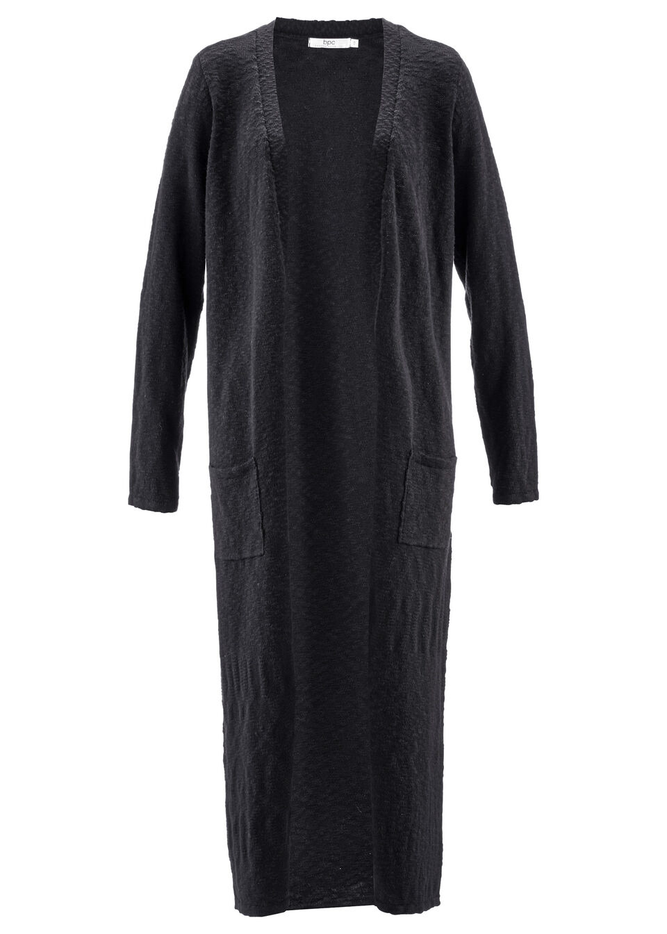 Długi płaszcz dzianinowy, długi rękaw bonprix czarny