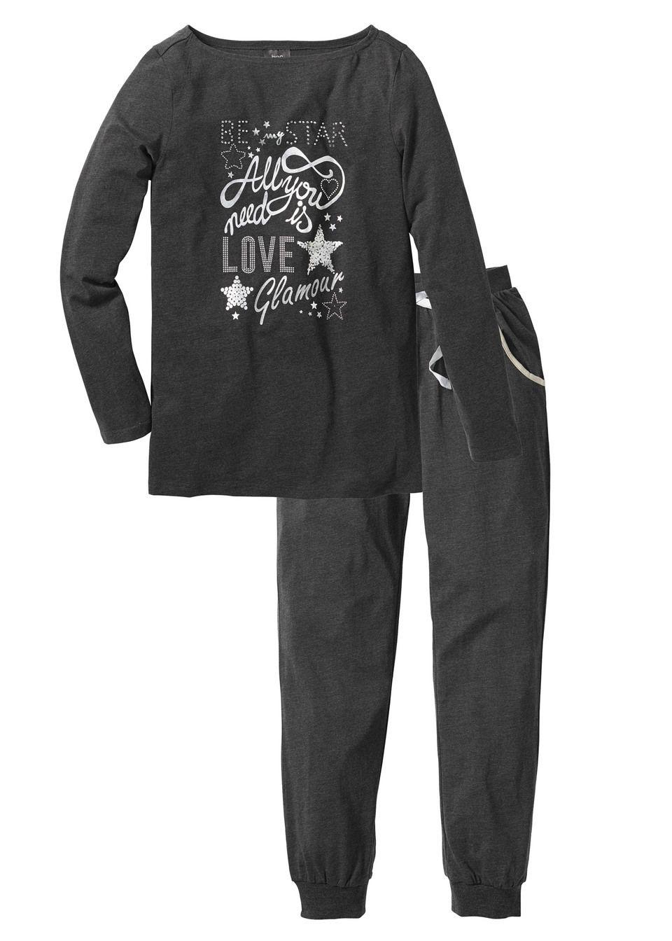 Piżama bonprix antracytowy melanż - srebrny z nadrukiem