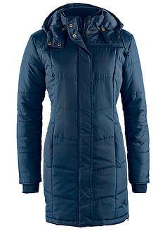 Długa kurtka pikowana, ocieplana ciemnoniebieski